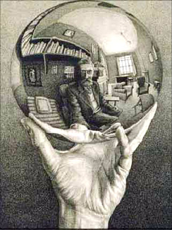 Hand holding mirrored ball that reflects back an old man in an office setting