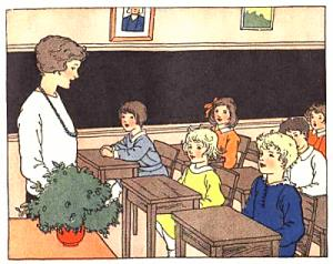 Drawing of a grade school classroom