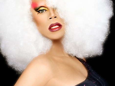 RuPaul in white wig