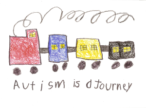 """Child's drawing of a train with """"autism is a journey"""" written below"""