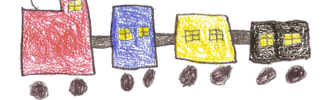"Child's drawing of a train with ""autism is a journey"" written below"