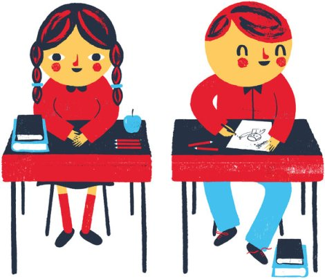cartoon girl and boy at desks